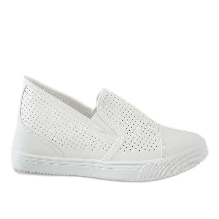 Hvide openwork kilsneakers DD441-2