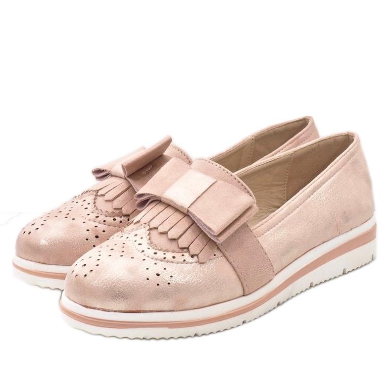 Lyserøde matte sko på kilen YT-8 pink