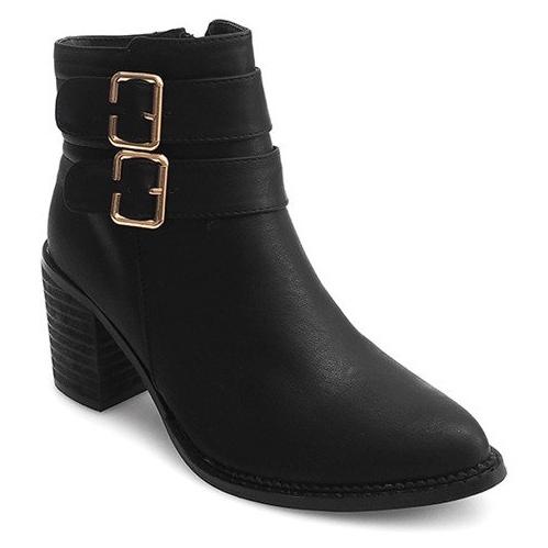 Støvler på hæl F026 Sort