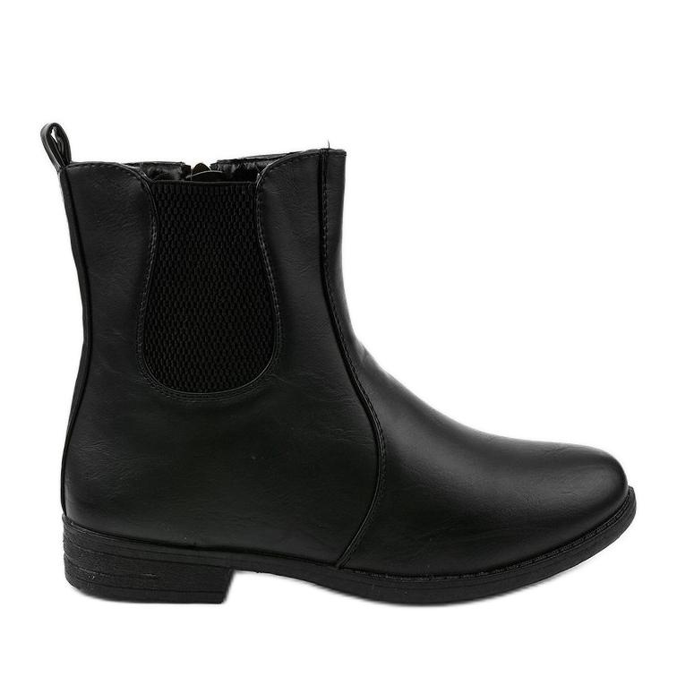 Sorte flade ankelstøvler med elastik og Trini-lynlås