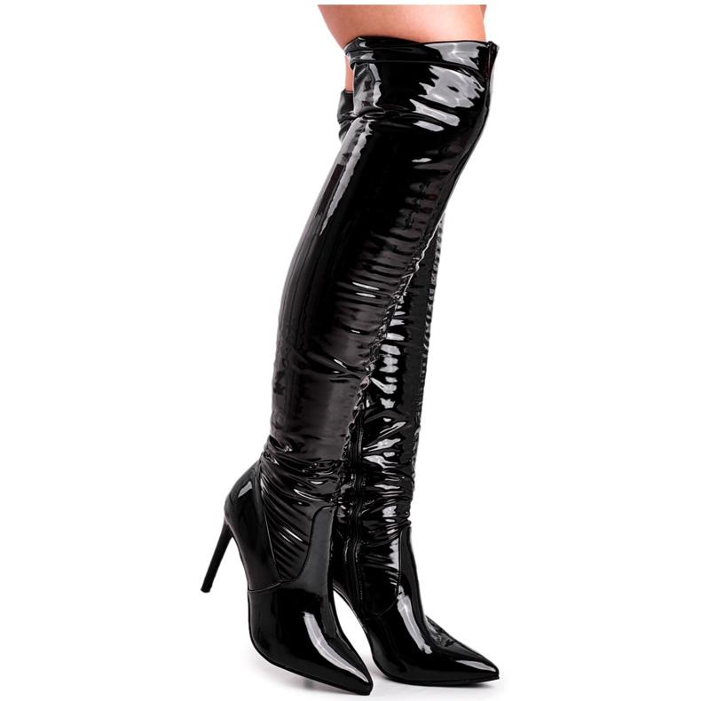 SEA Kvinders støvler med høj hæl Latex Black Bite Me! sort