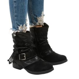 Sorte ankelstøvler med spænde og dekorativ Coord-overdel