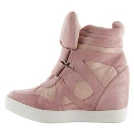 Suede sneakers Velcro lukning Pink 2