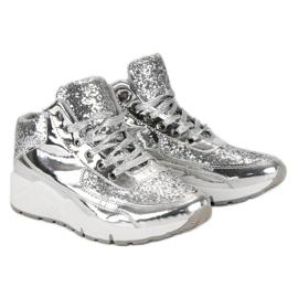 Sølv sneakers med glitter grå 3