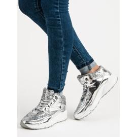 Sølv sneakers med glitter grå 5