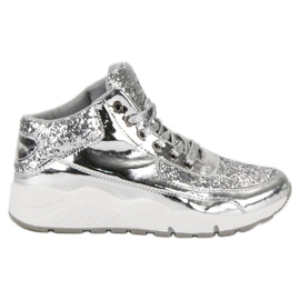 Sølv sneakers med glitter grå 6