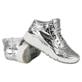 Sølv sneakers med glitter grå 2