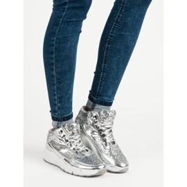 Sølv sneakers med glitter grå 4