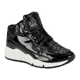 Sorte sneakers med glitter 1