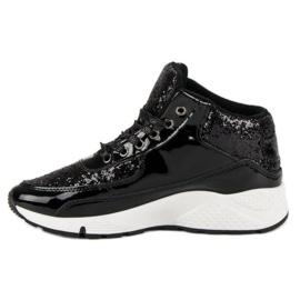 Sorte sneakers med glitter 2