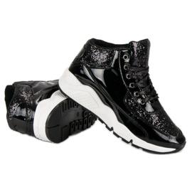 Sorte sneakers med glitter 3