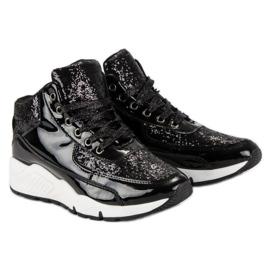 Sorte sneakers med glitter 4
