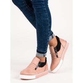 Lyserøde sneakers med lynlås pink 1