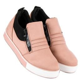 Lyserøde sneakers med lynlås pink 5