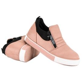 Lyserøde sneakers med lynlås pink 4