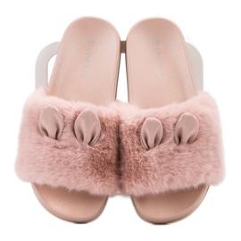 Vinceza Pink tøfler med pels 1