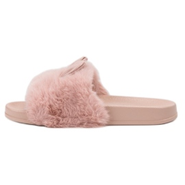 Vinceza Pink tøfler med pels 5