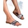 Marquiz sort Blanke flip flops med en spænde billede 4