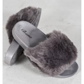 Bona Tøfler Med Fur grå 2
