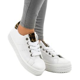 Hvide leopard sneakers på M-071 platformen 2