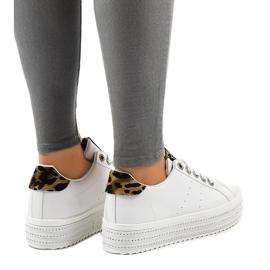 Hvide leopard sneakers på M-071 platformen 3
