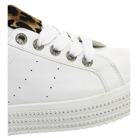 Hvide leopard sneakers på M-071 platformen 5