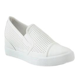 Hvide openwork kilsneakers DD441-2 1