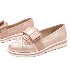 Lyserøde matte sko på kilen YT-8 pink 1