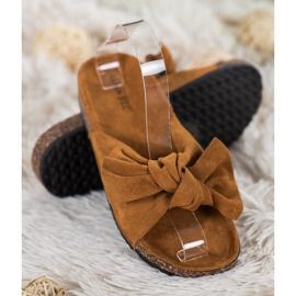 SHELOVET Suede Flip-flops Med Bow brun 2