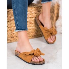 SHELOVET Suede Flip-flops Med Bow brun 4