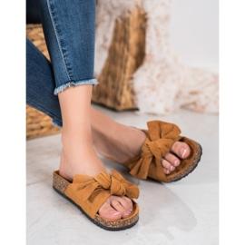 SHELOVET Suede Flip-flops Med Bow brun 3