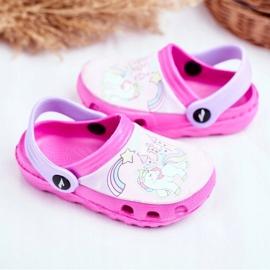Børnes tøfler Skum Crocs lyserøde ponyer pink 3