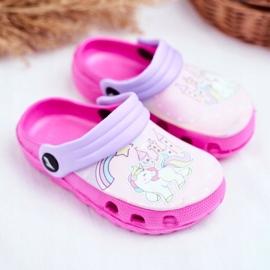 Børnes tøfler Skum Crocs lyserøde ponyer pink 1
