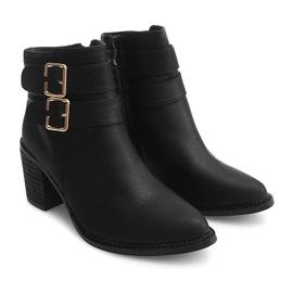 Støvler på hæl F026 Sort 1