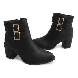 Støvler på hæl F026 Sort 2