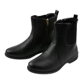 Sorte flade ankelstøvler med elastik og Trini-lynlås 3