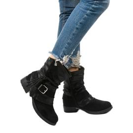 Sorte ankelstøvler med spænde og dekorativ Coord-overdel 1