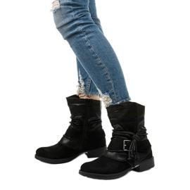 Sorte ankelstøvler med spænde og dekorativ Coord-overdel 2