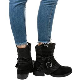 Sorte ankelstøvler med spænde og dekorativ Coord-overdel 3