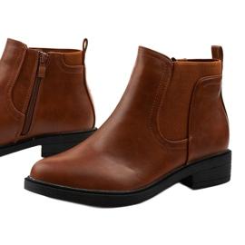 Flade ankelstøvler af kamel med en økologisk læder Merriva brun 1