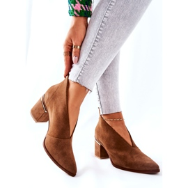 Læderstøvler på høj hæl Laura Messi Brown 2344 brun 6
