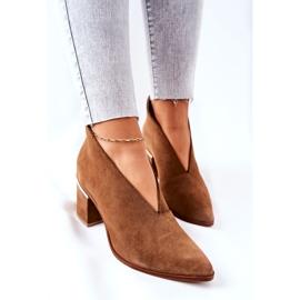 Læderstøvler på høj hæl Laura Messi Brown 2344 brun 1