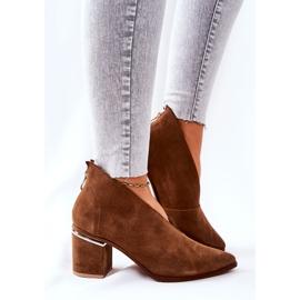 Læderstøvler på høj hæl Laura Messi Brown 2344 brun 2