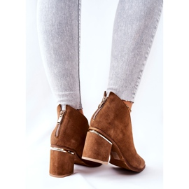 Læderstøvler på høj hæl Laura Messi Brown 2344 brun 3