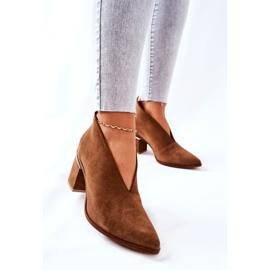 Læderstøvler på høj hæl Laura Messi Brown 2344 brun 4