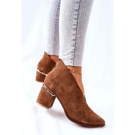 Læderstøvler på høj hæl Laura Messi Brown 2344 brun 5