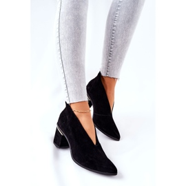 Læderstøvler på høj hæl Laura Messi Sort 2344 1