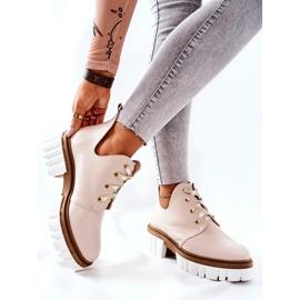 PA2 Læderstøvler med udskåret beige Kaxo 5