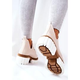 PA2 Læderstøvler med udskåret beige Kaxo 7