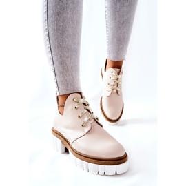 PA2 Læderstøvler med udskåret beige Kaxo 3